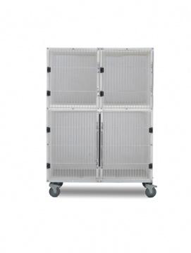 3 Unit Plastic Kennel Assembly With Divider & Mobile Platform