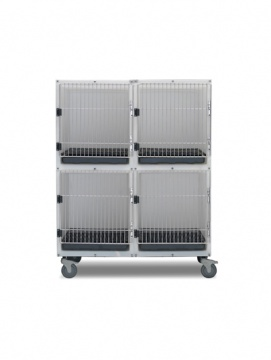 4 Unit Plastic Kennel Assembly With Mobile Platform
