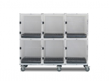 6 Unit Plastic Kennel Assembly With Mobile Platform